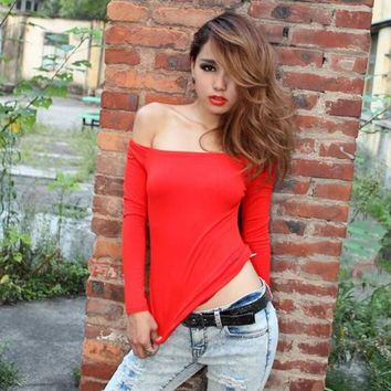 Hot Sale Spring Summer Women Long Sleeve Boat Neck Solid Top T Shirt Sexy Off The Shoulder Tops Women Casual T-Shirt