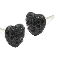.925 Sterling Silver Black Crystal Heart Shape 6mm Stud Earrings