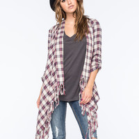 Billabong Live It Up Plaid Flannel Womens Wrap Maroon  In Sizes