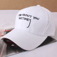 Simple Unique Cotton i think about you sometimes Baseball Cap Hats