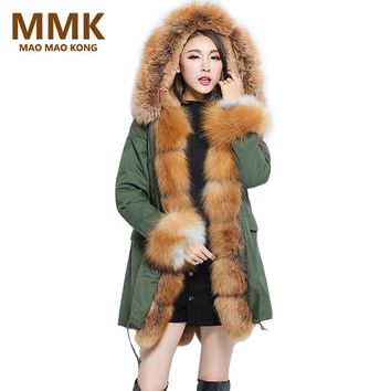 Women Parka Winter 2017 New Long Army Green Coat Natural Real Fox Fur Collar Placket Cuff Hooded Thick Casual Outwear Jacket