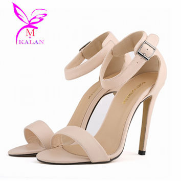 Hot Ladies Sexy Open Toe Strappy Strap Ankle Cuff Stiletto High Heels Sandal Women Gladiator Faux leather Pumps Shoes NX19