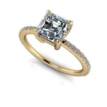 Asscher Cut and Diamond Engagement Ring - Forever Moissanite Ring - Customize Your Ring
