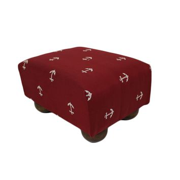 Deep Red Nautical Anchors Upholstered Fabric Footstool Ottoman