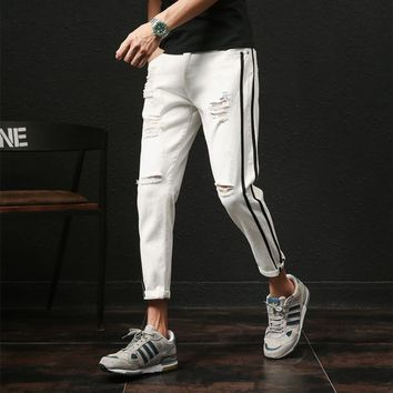 pants men jeansbrand designer slim fit ripped denim pant boys side stripe ankle lengthMens trousers