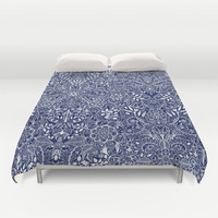 Detailed Floral Pattern in White on Navy Duvet Cover by micklyn