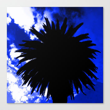 Palm Trees Silhouette - Groove Of Midnight Canvas Print by Moonshine Paradise