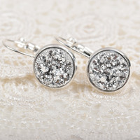 Silver Druzy French Lever Back Earrings / Silver Plated