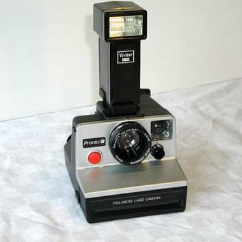 Polaroid Pronto B Land Camera & Vivitar Electronic Flash - Vintage Instant Camera Set