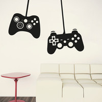 Wall Decal Vinyl Sticker Decals Art Decor Design Gamer Player  xbox 360 ps3  2 Game Controllers Kids Children Nursery Bedroom(r1093)
