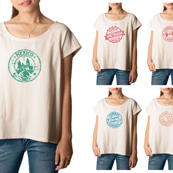 Women's Stamps of countries Printed cotton T-shirt  Tee WTS_01