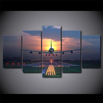 Sunset A380 Jet Airplane Runway Landing at Sunset 5 Panel Wall Art on Canvas