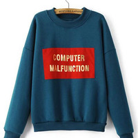 Blue Long-Sleeved Letter Printed Fleece Sweatshirts