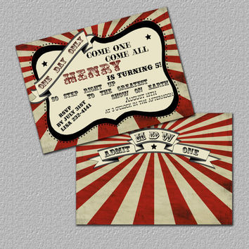 Printable Carnival Invitation Monogrammed by TheRedStarDesigns