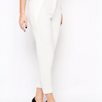 Asos Skinny Cigarette Pants In Texture   White