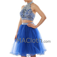 Two Piece Halter Short Royal Blue Tulle Prom/Homecoming Dress with Crystals 160192