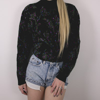 Vintage Glittery Floral Sweater