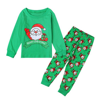 New Winter Christmas Boys Pajamas Set Children Clothing Santa Claus Costumes Baby Pijamas Cotton Kids Sets L08