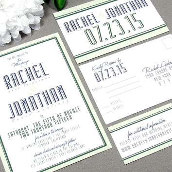 Modern Typography Wedding Invitation Set by RunkPock Designs / Classic Bold Script Border Invitation Suite shown in mint / gray / navy blue