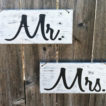 Handmade Wooden Mr. & Mrs. Wedding Signs, Set of 2 - Distressed Finish, in White and Black - Or Choose Your Own Colors