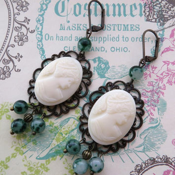 Vintage cameo earrings, west germany earrings, green jade jewelry, bronze filigree jewels, vintage style, gemstone jewelry