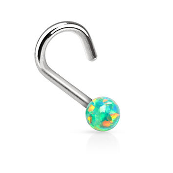 "Green Fire Opal Nose Ring Nose Jewelry 20ga 1/4"" Body Jewelry Piercing Jewelry"