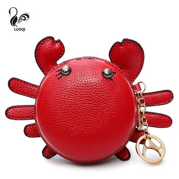 LUOQI Kawaii Crab Women Coin Purse High Quality Kids Wallets Famous Brand Coin Purse Boy And Girls Designer Cute Small Wallets