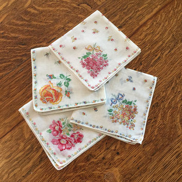 Vintage Floral Handkerchiefs, Linen, Feminine flowers, set of 4, pink gold blue