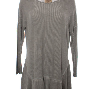 DejaVu Dropped Shoulder Ribbed Tunic with Angled Peplum