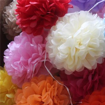 "40pcs 20cm(8"") Pom Pom Tissue Paper Pom Poms Artificial Flower Balls Wedding Decoration Paper Balls"