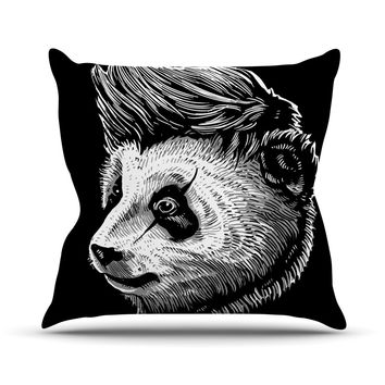 "BarmalisiRTB ""Funky Panda"" Black White Throw Pillow"
