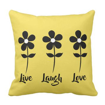Live Laugh Love Yellow Decorative Pillow