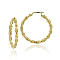 Goldtone Finish Silver 3x30 Twist Clicktop Hoop Earrings
