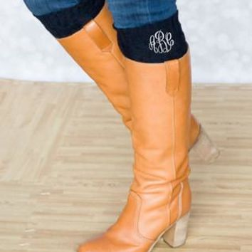 Leg Warmers Boot Cuffs with Glitter Monogram ~Black