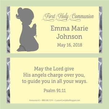 Girl Silhouette Communion Candy Bar Wrappers