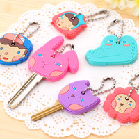 2pcs/lot Key Sets Animal Cartoon Silicone Key Cover, Cute Key Caps Women Key Chains Key Rings Gift Key Holder Llaveros Chaveiro