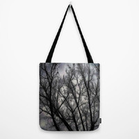 Haunted, black, grey, trees, nature, spooky - Tote Bag - 3 Sizes Available - Grocery, Beach, Busy Mom, Coworker, Teacher -Made To Order-H#07