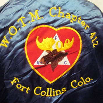 Vintage Moose Heart American Harrington Bomber Baseball Jacket Medium