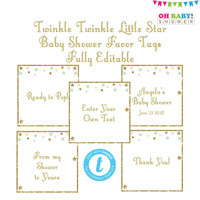 Editable Template, Twinkle Twinkle Little Star Favor Tags, Templett, Thank You Tag, From My Shower to Yours, Ready to Pop Baby Shower, STPMG