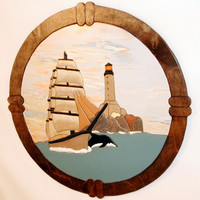 Nautical Lighthouse & Old Ship Wood Sculpture Wood Wall Decor. This Wall Hanging wood look great in a Den or Office. Wall Art Intarsia wood.