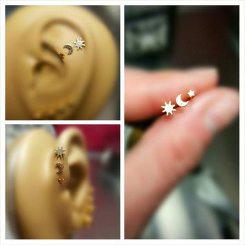 Gold Sun Moon and Star Tragus Cartilage Earring Forward Helix Triple Stud Lip 16g Piercing Bar Barbell Sugical Steel Bioplast Jewelry