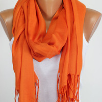 Pashmina, Orange, Pastel, Scarf, Thread Fringe, Tasselled, Gift Ideas For Her, Women Fashion Accessories, Best Selling Items, Oversized
