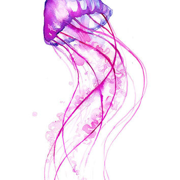 Pink Jellyfish Watercolor Print - Fun - Colorful Art - Painting - Animals