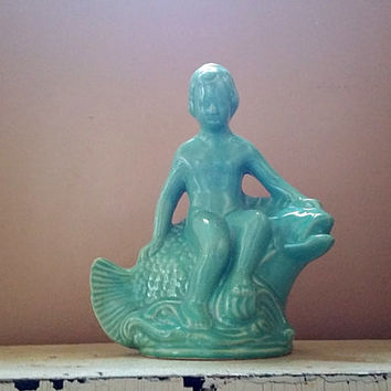 Vintage Art Deco Cherub on Fish Aqua Ceramic Statue Made in U.S.A.