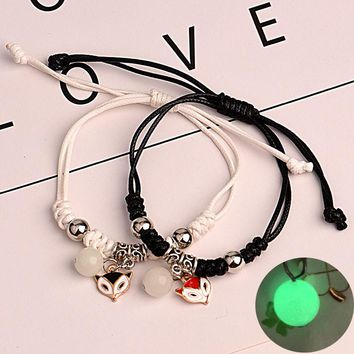 More style Rivca loves friend couples bracelet summer luminous black leather star leaf key leather kid fashion bracelet jewelry