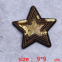 HOT sale sequined tinsel paillettes gold star Iron On Embroidered Patch For Cloth Cartoon Badge Garment Appliques DIY Accessory