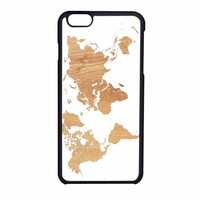 World Map On Wood Texture Print White iPhone 6 Case