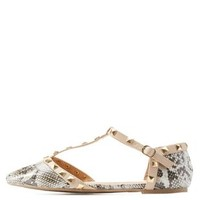 Beige Studded Pointed Toe T-Strap Flats by Charlotte Russe
