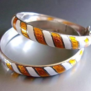 Yellow NIELLO Sterling Silver Bracelets Bangles Striped Set, Thailand, Rare, Vintage