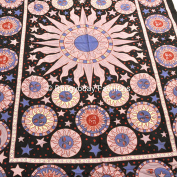 Good Morning Sun Moon Hippie Hippy indian Tapestry Wall Hanging Throw Cotton Bed cover Bohemian Bed Decor Bed Spread Ethnic Decorative Art
